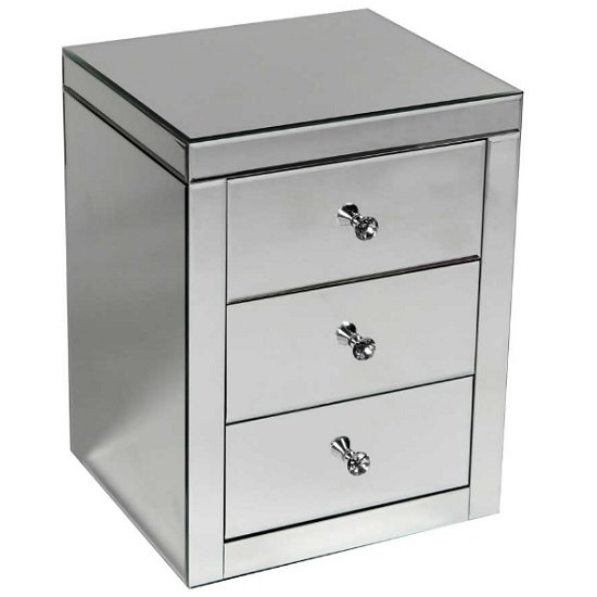 Alfredo Modern Mirrored Bedside Cabinet With 3 Drawers
