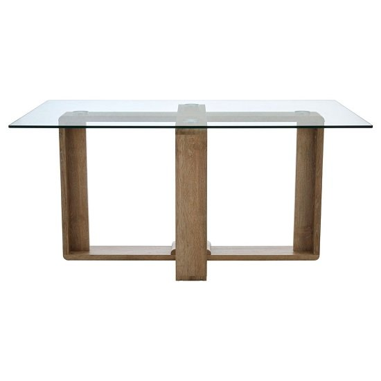 Alfret Clear Tempered Glass Dining Table With Veneer Legs