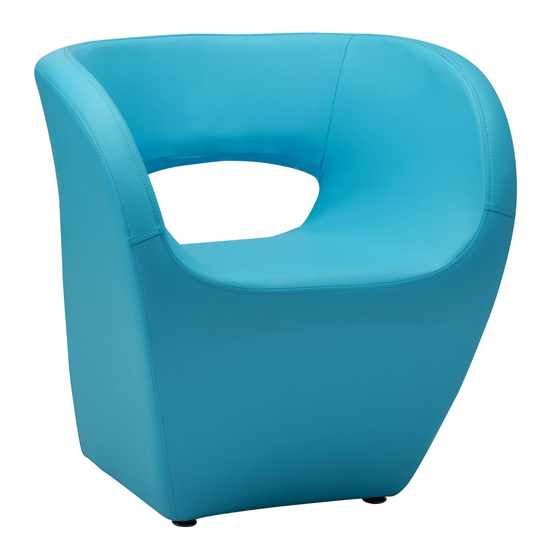Alfro Faux Leather Effect Bedroom Chair In Blue