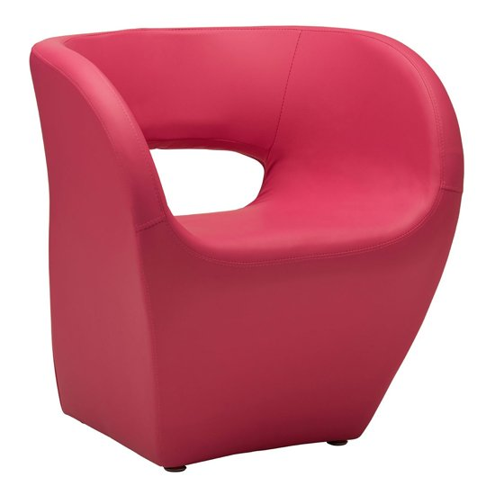 Alfro Faux Leather Effect Bedroom Chair In Pink