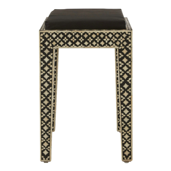 Algieba Fabric Upholstered Stool In Black With Wooden Legs_3