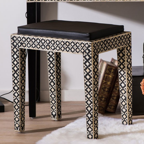 Algieba Fabric Upholstered Stool In Black With Wooden Legs_1