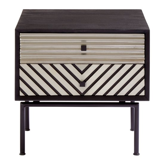 Algieba Wooden Bedside Table In Black