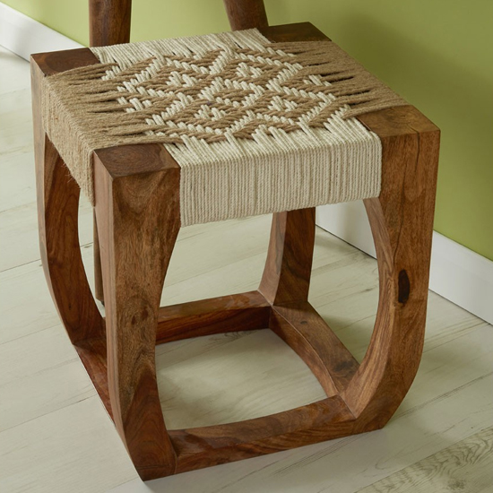 Algieba Wooden Exotic Stool In Natural