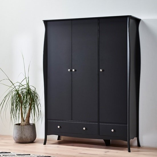 Alice Wooden Wardrobe In Black With 3 Doors And 2 Drawers
