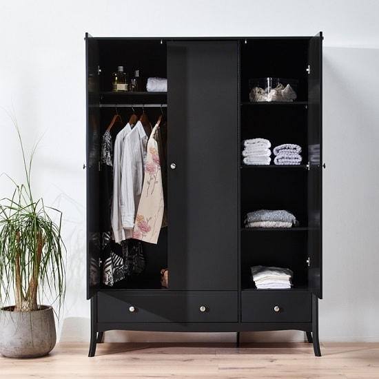 Alice Wooden Wardrobe In Black With 3 Doors And 2 Drawers_3
