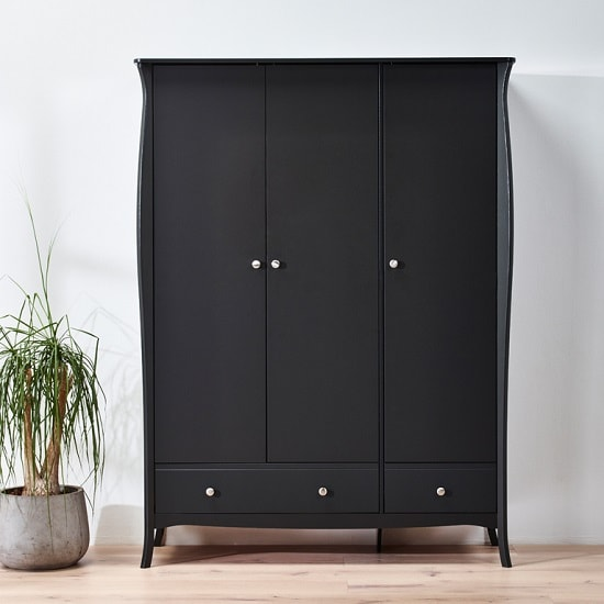 Alice Wooden Wardrobe In Black With 3 Doors And 2 Drawers_10