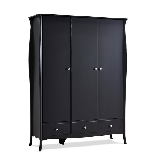 Alice Wooden Wardrobe In Black With 3 Doors And 2 Drawers_4