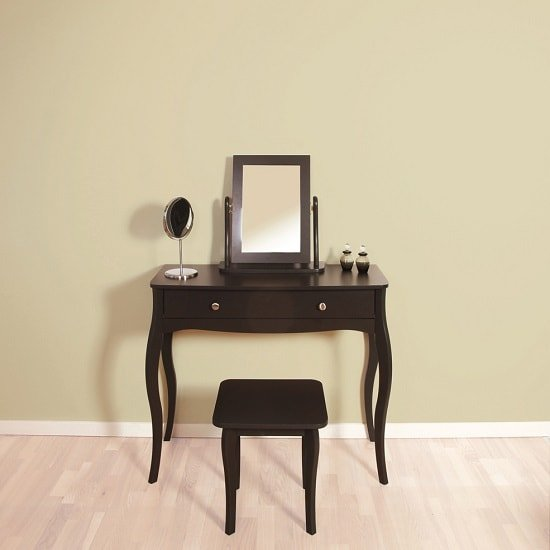 View Alice wooden dressing table with mirror and stool in black