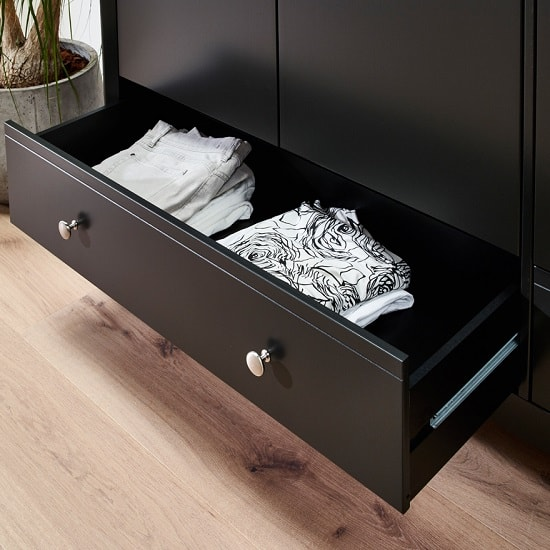 Alice Wooden Wide Chest Of Drawers In Black With 3 Drawers_6