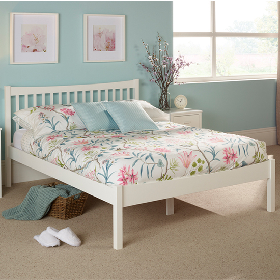 Alice Hevea Wooden Small Double Bed In Opal White