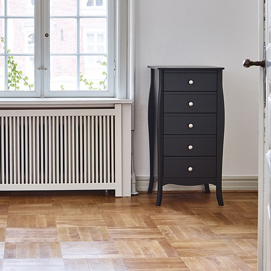 Alice Wooden Tall Chest Of Drawers In Black With 5 Drawers_1