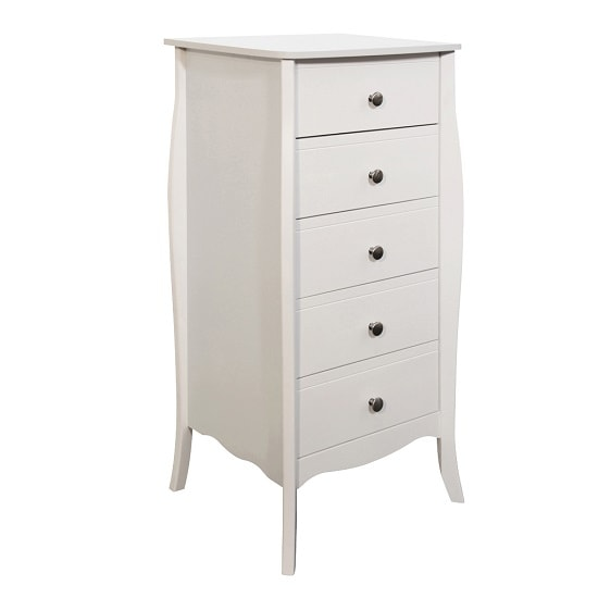 Alice Wooden Tall Chest Of Drawers In White With 5 Drawers_3