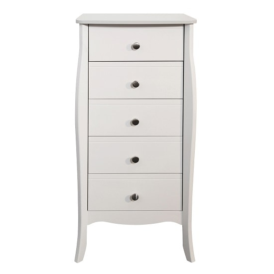 Alice Wooden Tall Chest Of Drawers In White With 5 Drawers_2