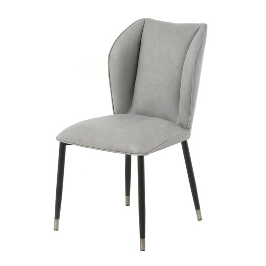 Alice Velour Fabric Dining Chair In Grey With Black Legs