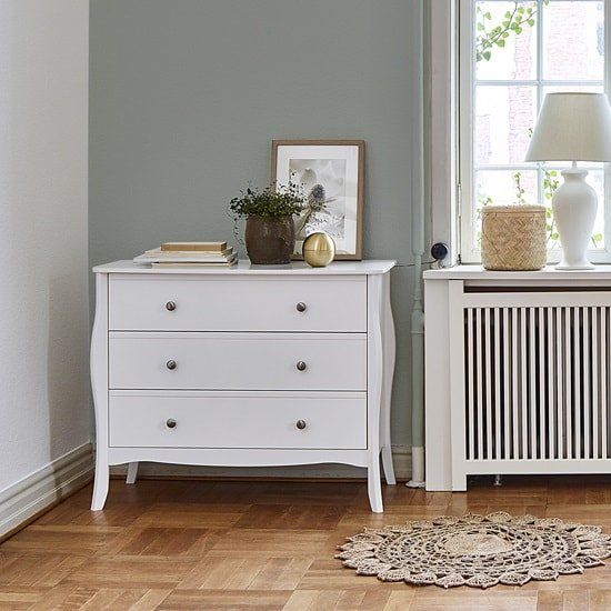 Alice Wooden Wide Chest Of Drawers In White With 3 Drawers
