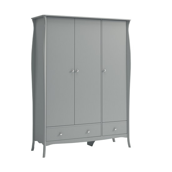 Alice Wooden Wardrobe In Grey With 3 Doors And 2 Drawers