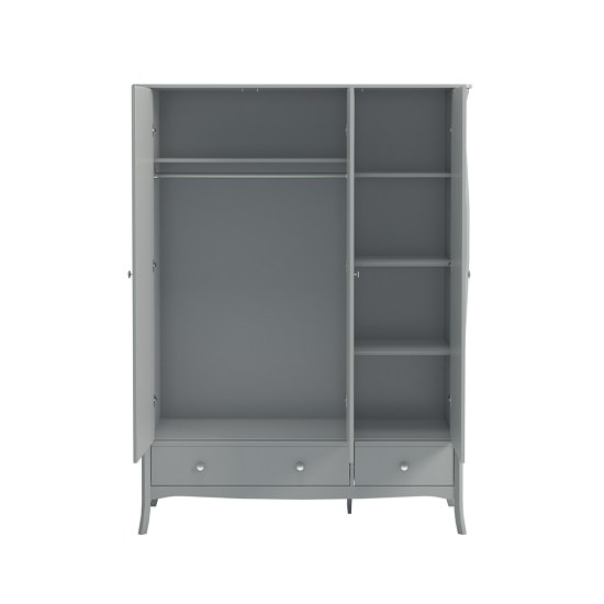 Alice Wooden Wardrobe In Grey With 3 Doors And 2 Drawers_2