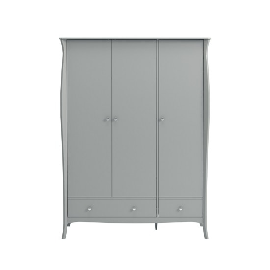 Alice Wooden Wardrobe In Grey With 3 Doors And 2 Drawers_3