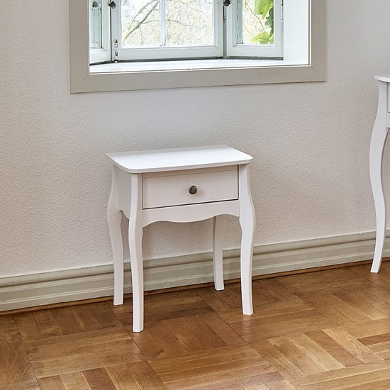 Alice Wooden Bedside Cabinet In White With 1 Drawer_1