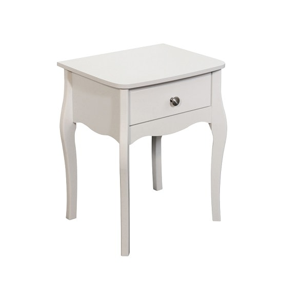 Alice Wooden Bedside Cabinet In White With 1 Drawer_2