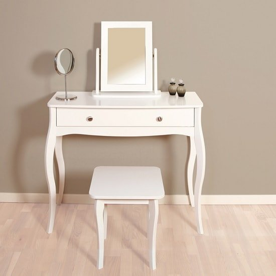 Alice Wooden Dressing Table With Mirror And Stool In White_1