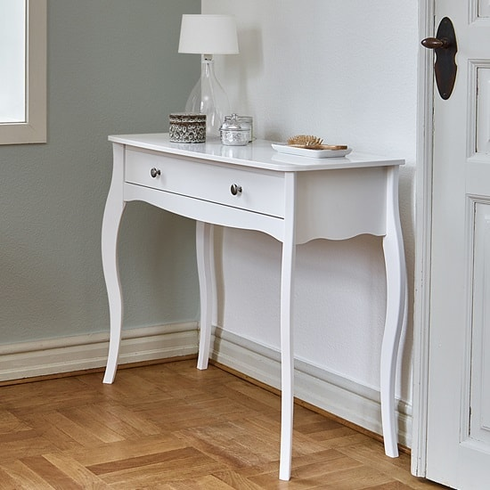 Alice Wooden Dressing Table With Mirror And Stool In White_2