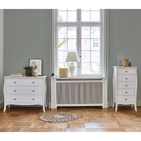 Alice Wooden Wide Chest Of Drawers In White With 3 Drawers_9