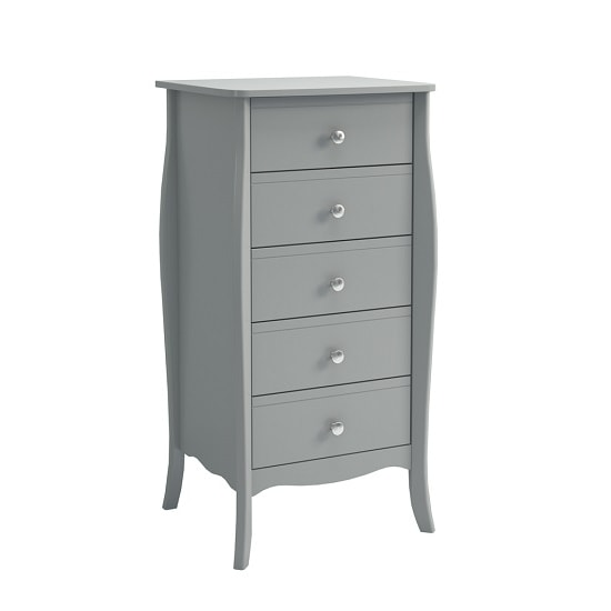 Alice Wooden Tall Chest Of Drawers In Grey With 5 Drawers