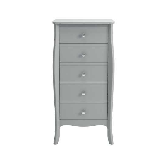 Alice Wooden Tall Chest Of Drawers In Grey With 5 Drawers_2
