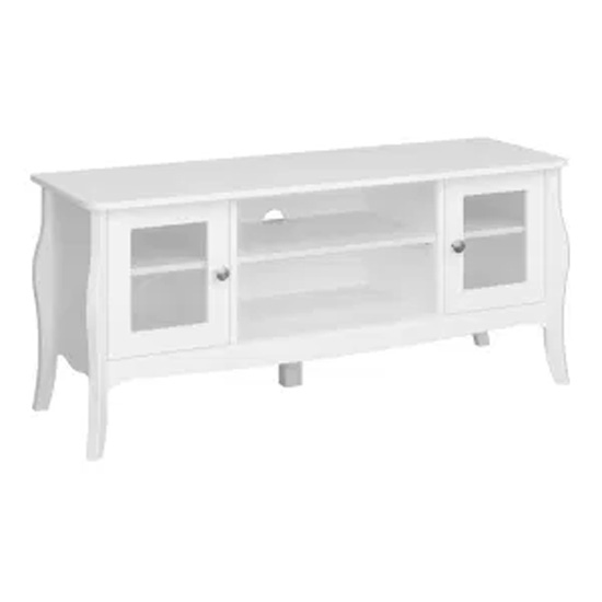 Alice Wooden TV Stand In White With 2 Doors And 1 Shelf
