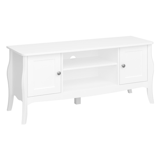 Alice Wooden TV Stand In White With 4 Drawers And 1 Shelf