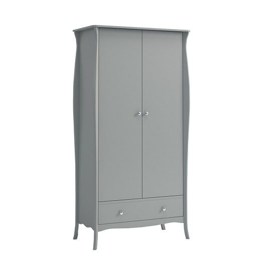 Alice Wooden Wardrobe In Grey With 2 Doors And 1 Drawer