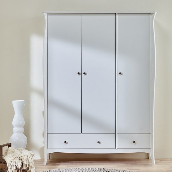 Alice Wooden Wardrobe In White With 3 Doors And 2 Drawers