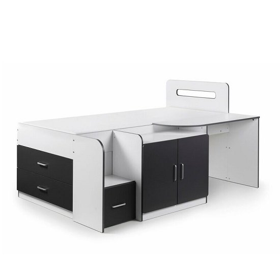 Alicia Storage Cabin Bed In White And Charcoal Grey With Desk_3