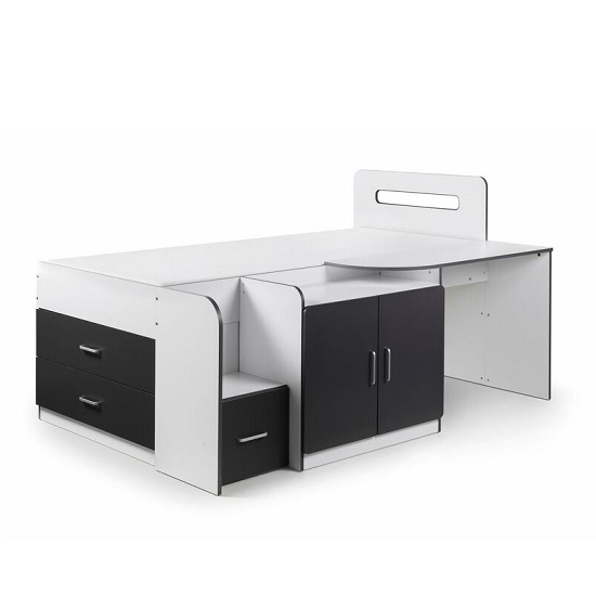 Alicia Storage Cabin Bed In White And Charcoal Grey With