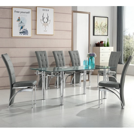 Alicia Extending Glass Dining Table With 6 Ravenna Grey Chairs