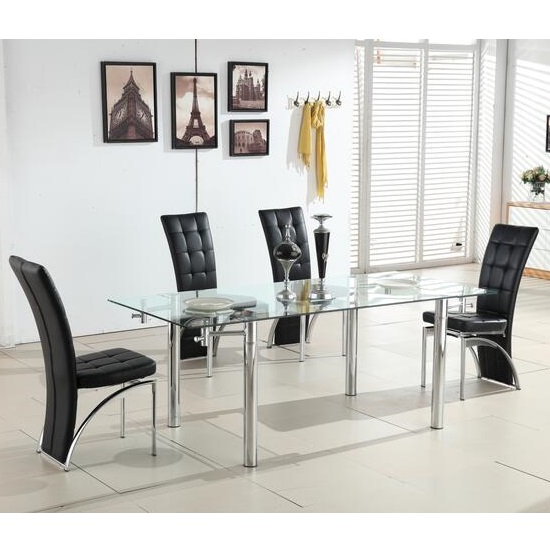 Alicia Extending Glass Dining Table With 6 Ravenna Black