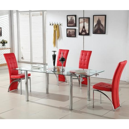 Alicia Extending Glass Dining Table With 6 Ravenna Red Chairs