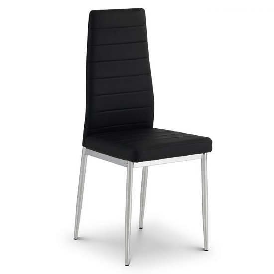 Alina Dining Chair In Black Faux Leather With Chrome Legs