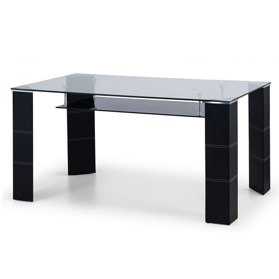 Alina Glass Dining Table In Clear And Black Glass Undershelf