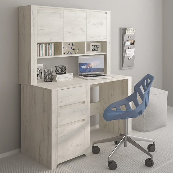 Alink 1 Door 2 Drawers Computer Desk With Top Unit In White