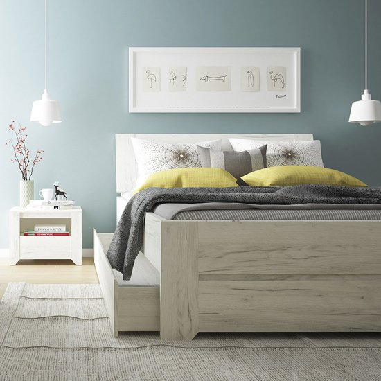 Alink Wooden King Size Bed In White_3