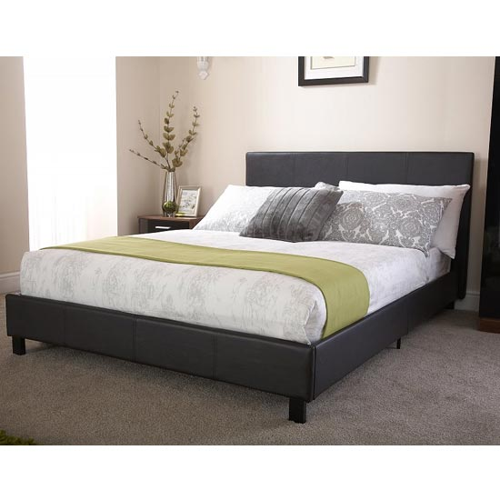 Alioth Faux Leather King Size Bed In Black
