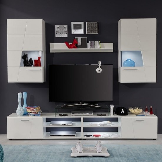 Alison Living Room Set In White With High Gloss Fronts And LED_3