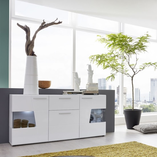 Alison Sideboard In White With High Gloss Fronts And LED_1