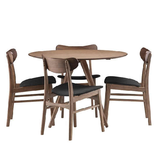 Alison Wooden Dining Table Round In Walnut With 4 Chairs