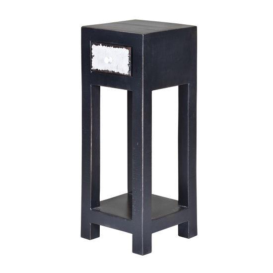 Alita Wooden Plant Stand In Black With 1 Drawer