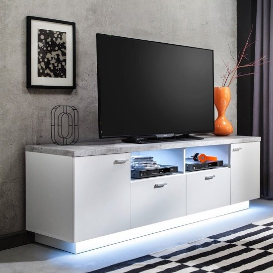 Alita TV Stand In White And Stone With 4 Doors And LED Lighting