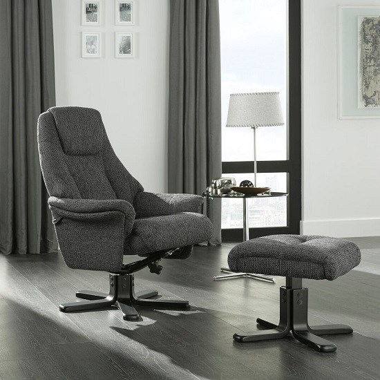 Alizza Fabric Recliner Chair In Graphite With Wooden Base